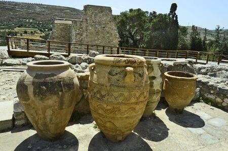 Griekenland, Kreta, Amphores in de oude Minoïsche paleis in Knossos