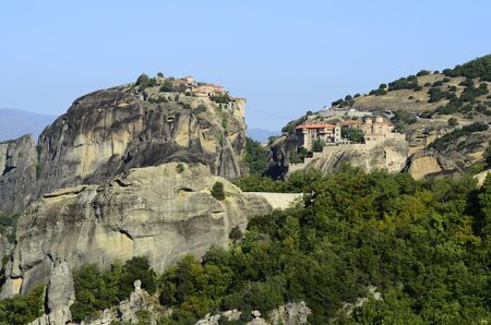 kalambaka: Greece, Meteora, Monasteries Varlaam and Great Meteoron Stock Photo