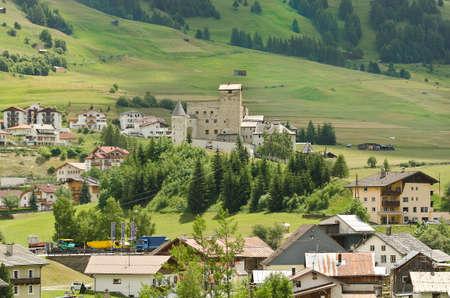 Austria, village of Nauders with castle Naudersberg Editorial