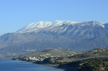 ida: Greece, Crete, view to village Kalamaki and snowy Ida range