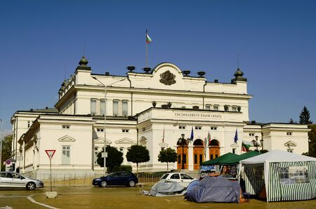 tent city: Sofia, Bulgaria - parliament building and tents from protest meeting against government Editorial