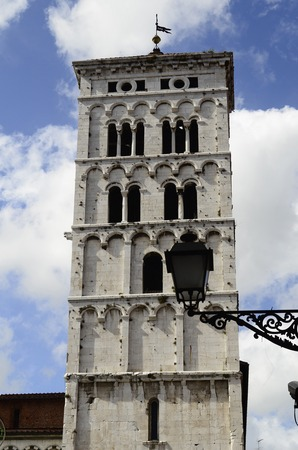 or san michele: Italy, Lucca, bell tower of the church San Michele in Foro