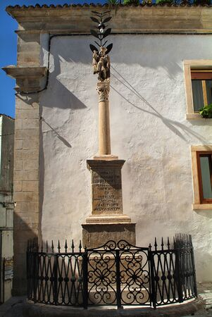 michael: italy, column for archangel Michael in the pilgrimage village Monte San Angelo