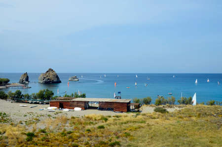 watersport: Myrina, Greece - September 21st 2015: Unidentified people and different kinds of watersport in Black Rock Dive Center on Lemnos island Editorial