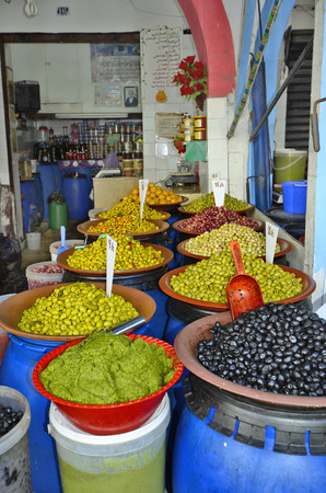 general store: Morocco, grocery for olives in the souk of Casablanca