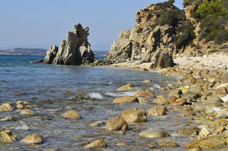 Greece, Athos Peninsula, beach in Ournoupoli Stock Photo