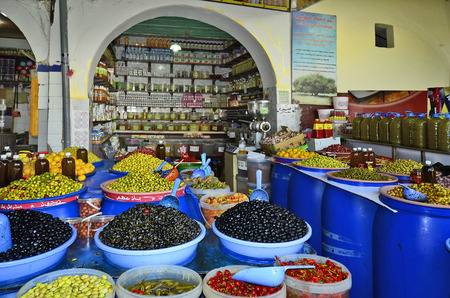 souk: Morocco, grocery for olives in the souk of Casablanca