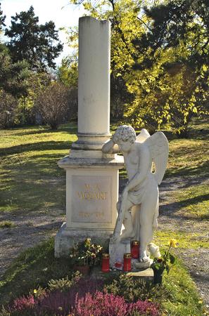 amadeus mozart: Austria, grave of Wolfgang Amadeus Mozart on Biedermeier Cemetery of Vienna
