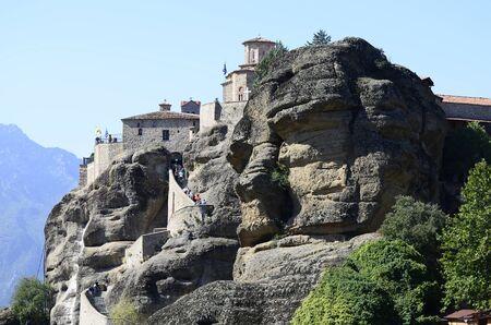 kalambaka: Greece, Meteora, Monastery Great Meteoron - Metamorphosis Stock Photo