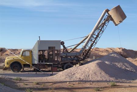 opal: opal mining  equipment in Coober Pedy, Australia Stock Photo
