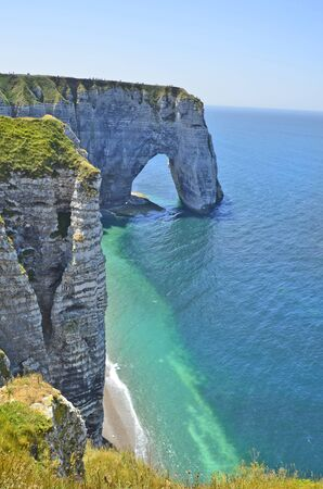 rock formation: France, Normandy, beach and rock formation in Etretat