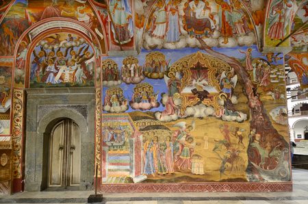 portico: Rila, Bulgaria - beautiful frescoes in the portico of the Unesco World Heritage site Monastery of Saint Ivan of Rila - aka Rila monastery