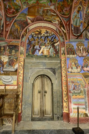 unesco: Rila, Bulgaria- door and frescoes in the Unesco World Heritage site Monastery of Saint Ivan of Rila - aka Rila monastery