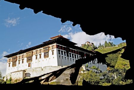 bhutan: Bhutan, Paro Dzong and Ta Dzong above Stock Photo
