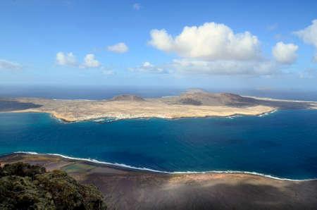 canary island: Island La Craciosa with village Caleta del Sol, Canary Island,view from Mirador del Rio