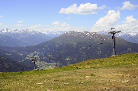 chair on the lift: Austria, Tirol, chair lift on Hochzeiger mountain in Pitztal