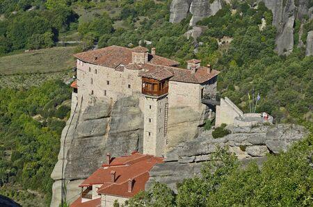 kalambaka: Greece, Meteora, monastery of Saint Barbara Roussanou Stock Photo