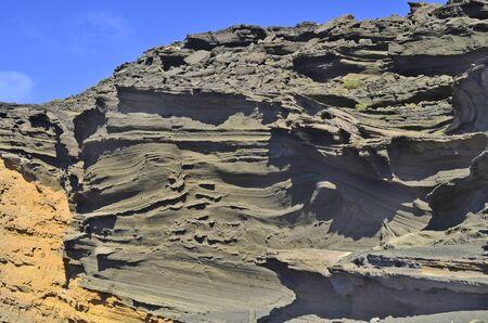 rock formation: Spain, Lanzarote, Canary Iceland, bizarre rock formation Charco de los Ciclos Stock Photo