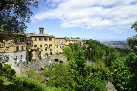 volterra: Italy, homes in traditional structure in Etruscan village Volterra Stock Photo