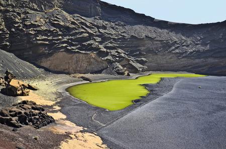 golfo: El Golfo in Lanzarote, Spain - the green lagoon - lago verde