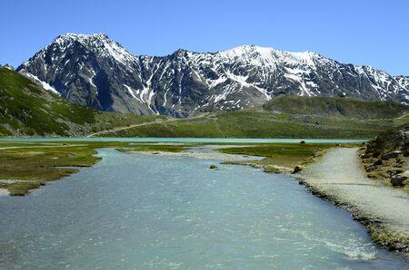 tirol: Austria, Tirol, Rifflsee lake and creek in Austrian Alps