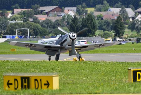 world war ii: Zeltweg, Austria - July 1st 2011: World War II German fighter aircraft Messerschmitt Bf 109 Me 109 by airshow - airpower11 - in Zeltweg