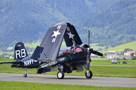 airpower: Zeltweg, Austria - July 1st, 2011: navy aircraft fighter Chance-Vought F4U with fold up wings by airshow - named AIRPOWER11