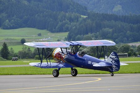 airpower: Zeltweg, Austria - July 1st, 2011: vintage aircraft Boeing Stearman PT-13D by airshow named AIRPOWER11 Editorial