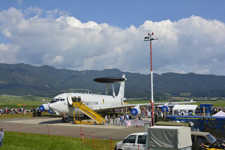 airpower: Zeltweg, Styria, Austria - September 2nd 2016: Boeing AWACS E3 Sentry at Airshow named Airpower 2016
