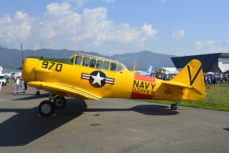 airpower: Zeltweg, Styria, Austria - September 2nd 2016: Vintage aircraft North American Aviation T-6 Texan aka Harvard from WWII by Airshow named Airpower 2016