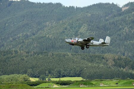 airpower: Zeltweg, Styria, Austria - September 2nd 2016: Vintage North American B-25 Mitchell on display by public airshow named Airpower 2016