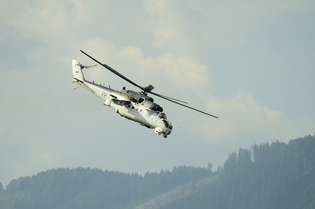 airpower: Zeltweg, Styria, Austria - September 2nd 2016: Military helicopter Mil Mi 35 by public airshow named Airpower 2016