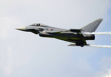 airpower: Zeltweg, Styria, Austria - September 2nd 2016: Typhoon aka Euro Fighter jet from Austrian army by public airshow named Airpower 2016