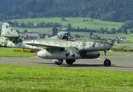airpower: Zeltweg, Styria, Austria - September 2nd 2016: Vintage fighter aircraft Messerschmitt Me 262 262 aka by public airshow named Airpower 2016 Editorial