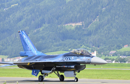 Zeltweg, Styria, Austria - July 1st, 2011: Fighter aircraft F 16 Falcon from Belgian air force by airshow named Airpower 2011
