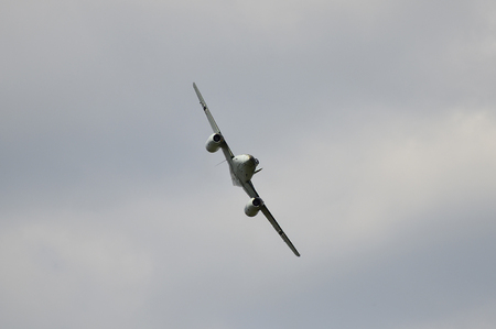 airpower: Zeltweg, Styria, Austria - July 1st 2011: Vintage WWII jet fighter Me 262 in approach by public airshow named Airpower 11