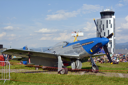airpower: Zeltweg, Styria, Austria - September 2nd 2016: Vintage WWII fighter and bomber aircraft North American P-51 Mustang by public airshow named Airpower 2016 on Hinterstoisser airfield