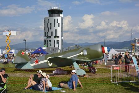airpower: Zeltweg, Styria, Austria - September 2nd 2016: Vintage WWII fighter aircraft Jakovlev 11 aka Yak 11 by public airshow named Airpower 2016 on Hinterstoisser airfield Editorial