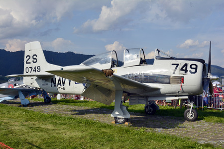 airpower: Zeltweg, Styria, Austria - September 2nd 2016: Vintage aircraft North American T-28 Trojan by public airshow named Airpower 2016 Editorial