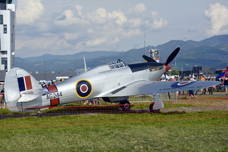 airpower: Zeltweg, Styria, Austria - September 2nd 2016: Vintage WWII fighter aircraft Hawker Hurricane by public airshow named Airpower 2016