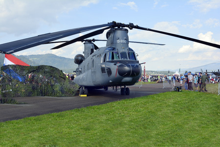airpower: Zeltweg, Styria, Austria - September 2nd 2016: Cargo helicopter Boeing CH-47 Chinook by public airshow named Airpower 2016 on Hinterstoisser airfield