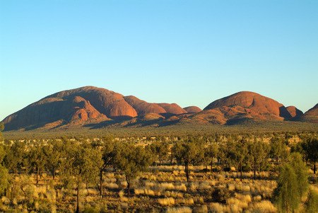 tjuta: Australia - rock formation Kata Tjuta - aka the Olgas - a mystical palce for Aborigines and steppe with spinifex grass and desert oaks
