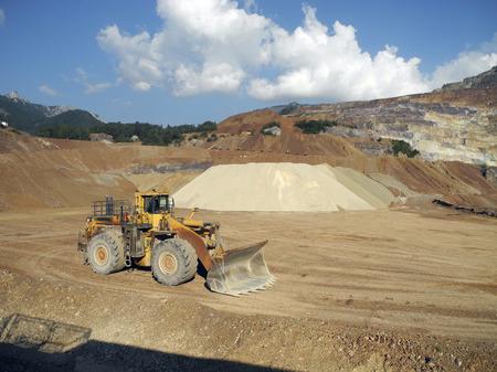 earthmover: Austria, Erzberg - earthmover vehicle for surface mining of iron ore in Styria Stock Photo