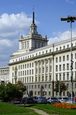 headquarter: Sofia, Bulgaria - September 25th 2016: National Assembly of Bulgarian Republic, former headquarter of communist party aka The Largo Editorial