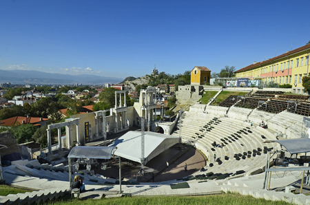 unesco culture heritage: Plovdiv, Bulgaria - September 23rd 2016: Unesco World Heritage site Old Town district, became European Capital of Culture 2019, ancient Roman theater and cityscape