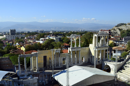 unesco culture heritage: Plovdiv, Bulgaria, Unesco World Heritage site Old Town district, became European Capital of Culture 2019, ancient Roman theater Editorial
