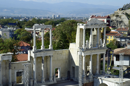 unesco culture heritage: Plovdiv, Bulgaria - September 23rd 2016: Ancient Roman theater in Unesco World Heritage site Old Town district, became European Capital of Culture 2019, Lamartines House