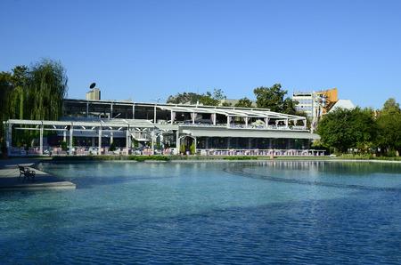 Plovdiv, Bulgaria - September 23rd 2016: pond and restaurant in central park aka Tsar Simeonova Gradina, preferred place to relax Editorial