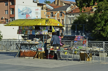 second hand: Plovdiv, Bulgaria - September 23rd 2016: Street market for second hand books and newspapers in front of Roman forum Editorial