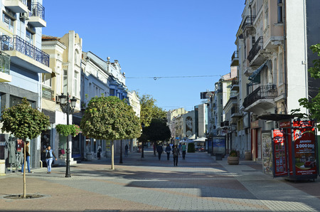 preferred: Plovdiv, Bulgaria - September 23rd 2016: Unidentified people on Ulica Knjaz Aleksandar, preferred pedestrian street and shopping area